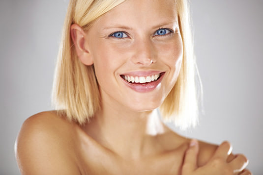 Portrait of healthy skin, hair and teeth